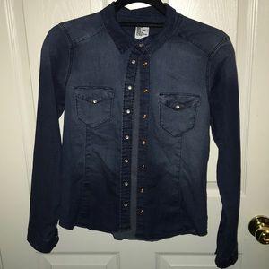 Women's H&M dark blue denim shirt size 8